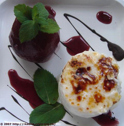 Reiscreme mit Rotweinbirnen
