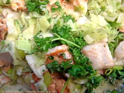 Fisch in Lauchsauce mit Nudeln