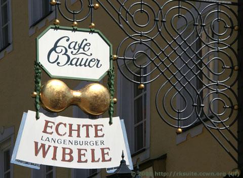 Schild am Cafe Bauer