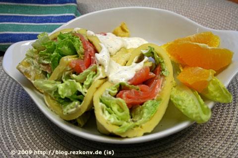 Ofen-Crêpes mit Räucherlachs