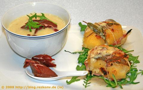 Kartoffel-Schinken-Panini und Blumenkohlcremesuppe