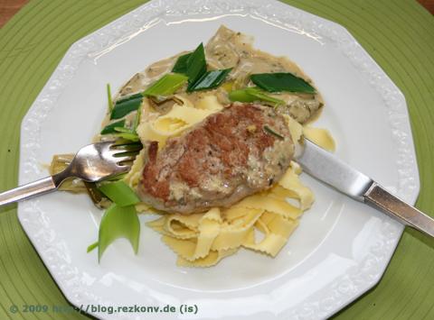 Schweinemedaillons mit Senf-Lauch-Sauce