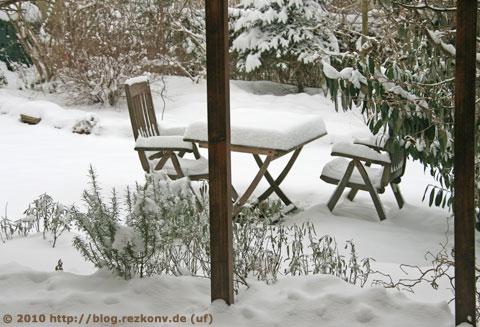 Blick durch unser Küchenfenster im Winter