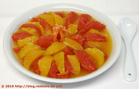 Mazerierte Grapefruits und Orangen
