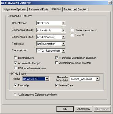 Rezkonv-Optionen (Beispiel)
