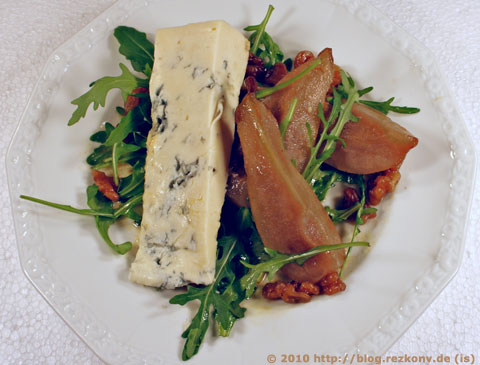 Rucola mit Birnen und Gorgonzola